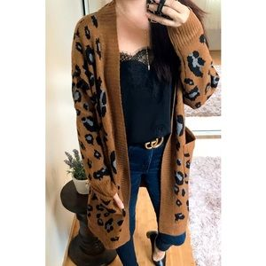 Sweaters - Banks Leopard Jacquard Camel Knit Cardigan